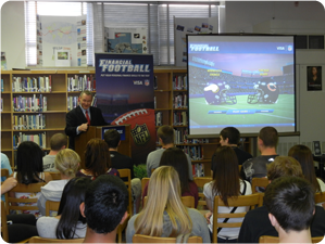 Michael Fitzgerald Presenting Financial Football to Highschoolers